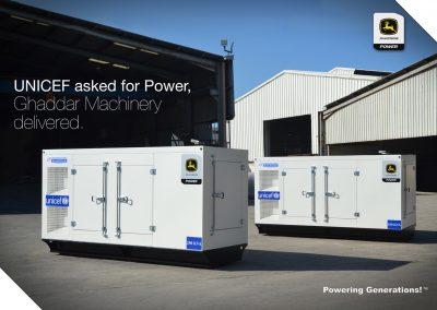 UNICEF choose Ghaddar Generators powered by John Deere engines to power water pumping stations.